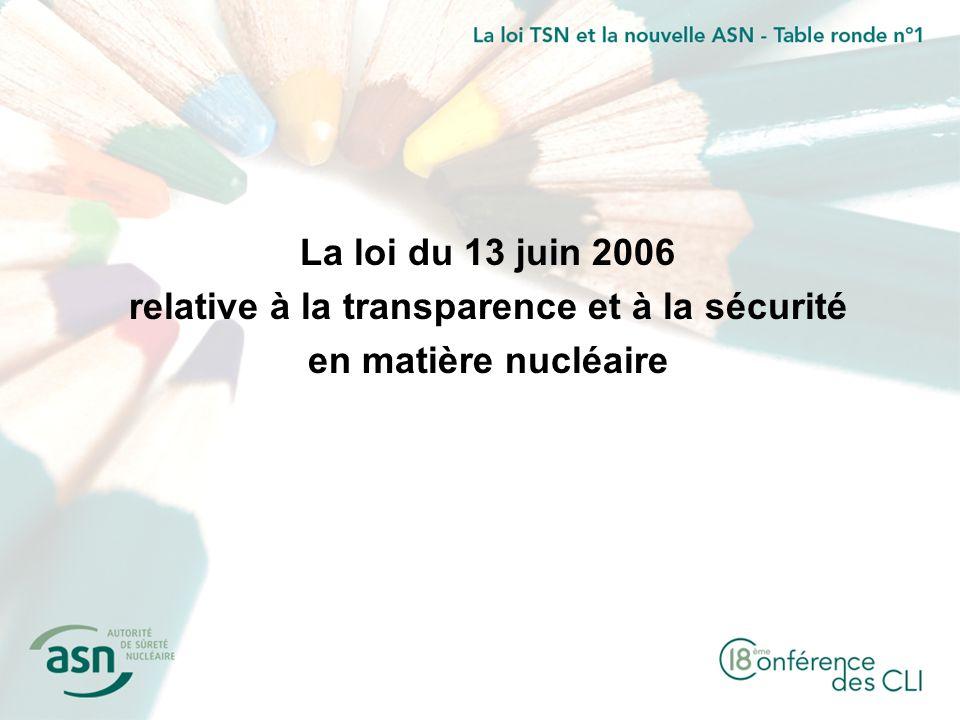 La loi du 13 juin 2006 relative à la transparence et à la sécurité en matière nucléaire