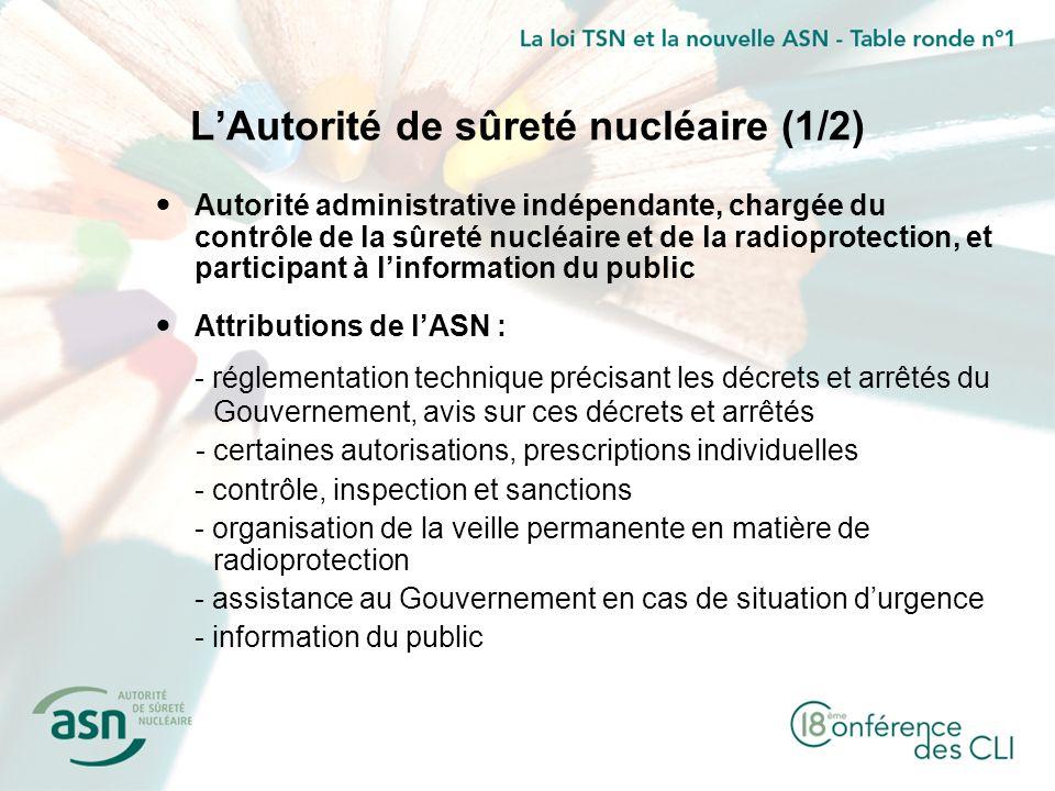 LAutorité de sûreté nucléaire (1/2) Autorité administrative indépendante, chargée du contrôle de la sûreté nucléaire et de la radioprotection, et part