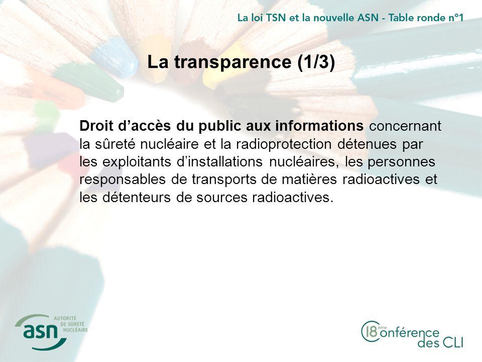 La transparence (1/3) Droit daccès du public aux informations concernant la sûreté nucléaire et la radioprotection détenues par les exploitants dinsta