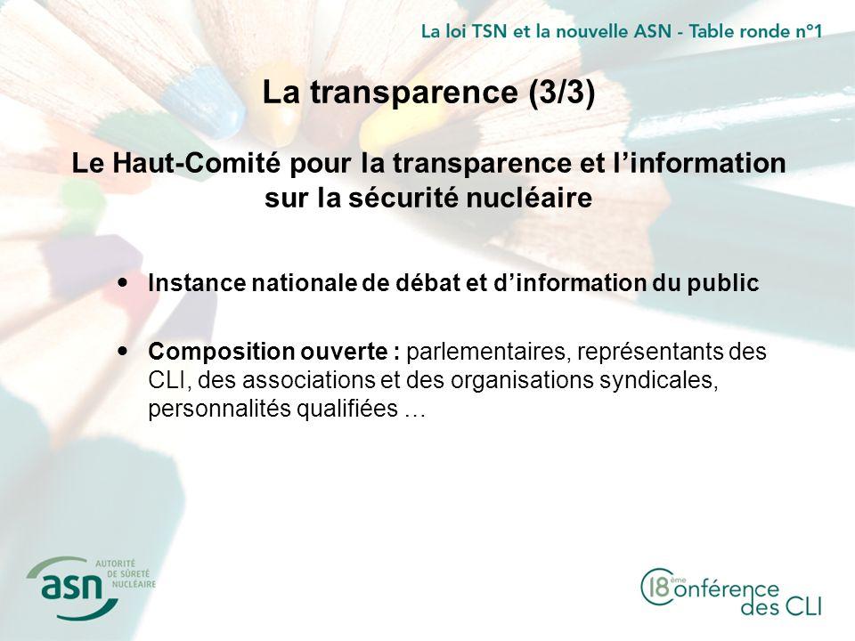 La transparence (3/3) Le Haut-Comité pour la transparence et linformation sur la sécurité nucléaire Instance nationale de débat et dinformation du pub