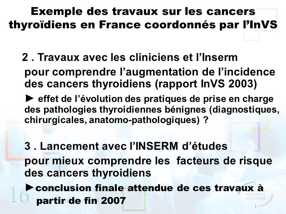 Exemple des travaux sur les cancers thyroïdiens en France coordonnés par lInVS 2. Travaux avec les cliniciens et lInserm pour comprendre laugmentation