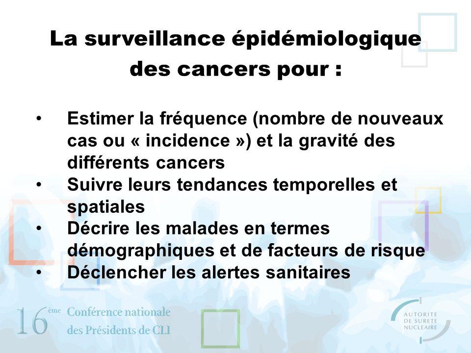 Estimer la fréquence (nombre de nouveaux cas ou « incidence ») et la gravité des différents cancers Suivre leurs tendances temporelles et spatiales Dé