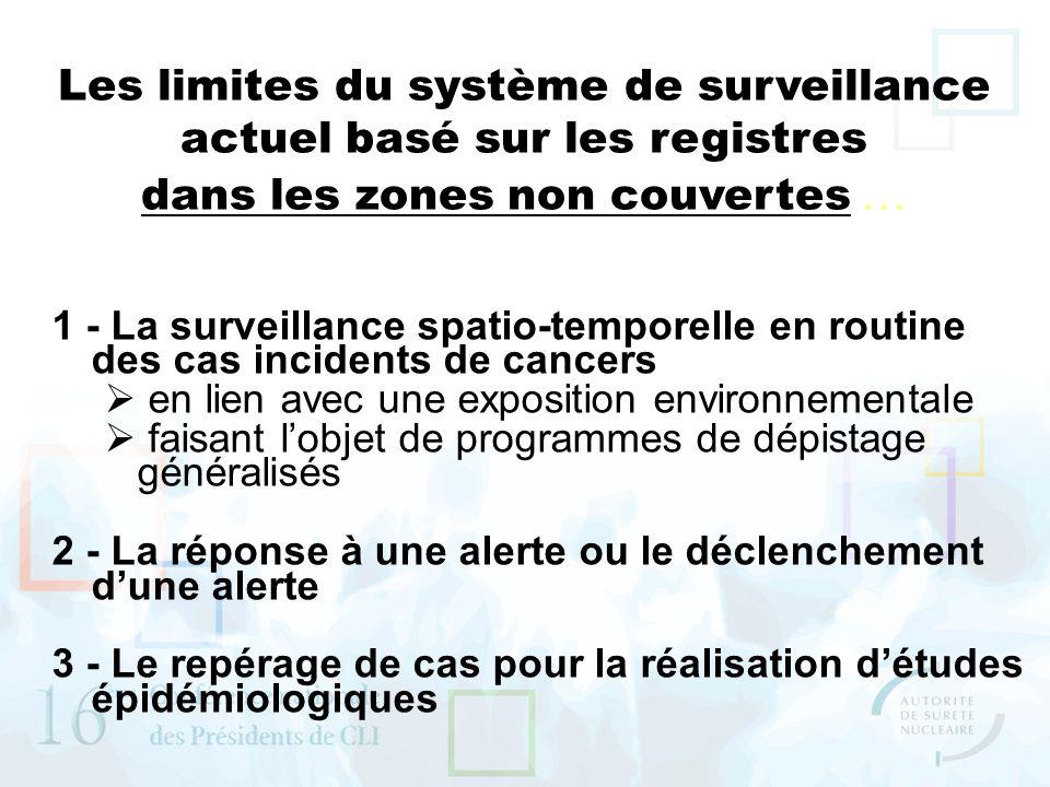 Les limites du système de surveillance actuel basé sur les registres dans les zones non couvertes … 1 - La surveillance spatio-temporelle en routine d