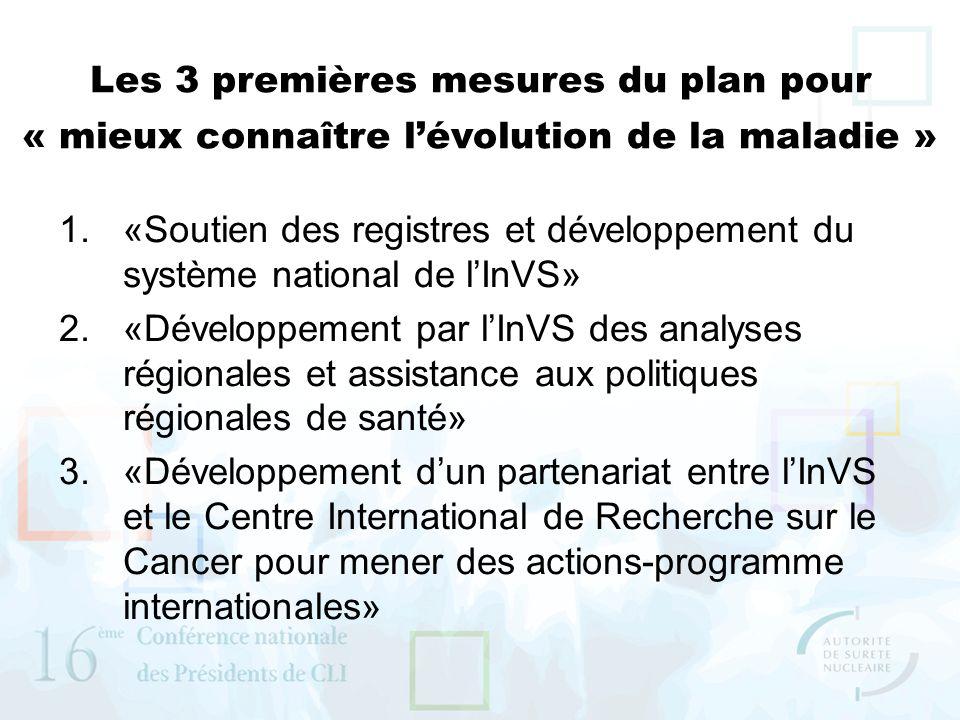 Les 3 premières mesures du plan pour « mieux connaître lévolution de la maladie » 1.«Soutien des registres et développement du système national de lIn