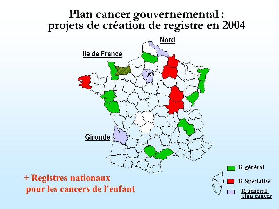 Plan cancer gouvernemental : projets de création de registre en 2004 + Registres nationaux pour les cancers de l'enfant R général R Spécialisé Gironde