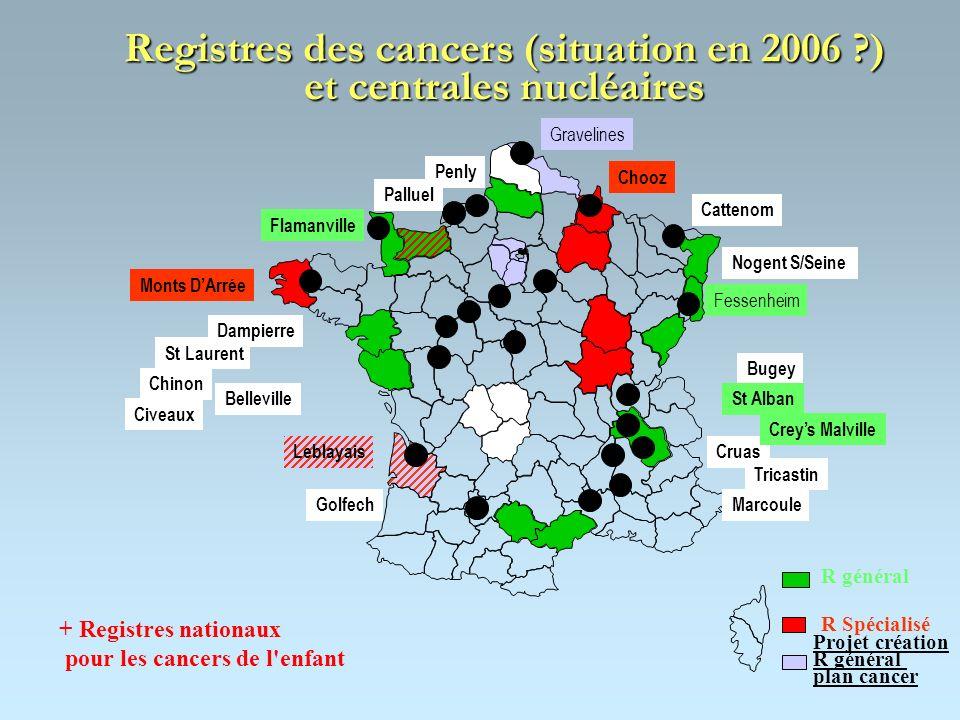 Registres des cancers (situation en 2006 ?) et centrales nucléaires + Registres nationaux pour les cancers de l'enfant R général R Spécialisé Leblayai