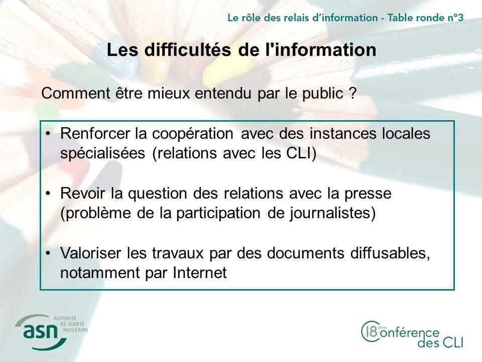 Les difficultés de l information Comment être mieux entendu par le public .