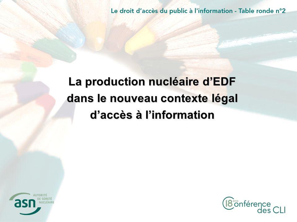 La production nucléaire dEDF dans le nouveau contexte légal daccès à linformation