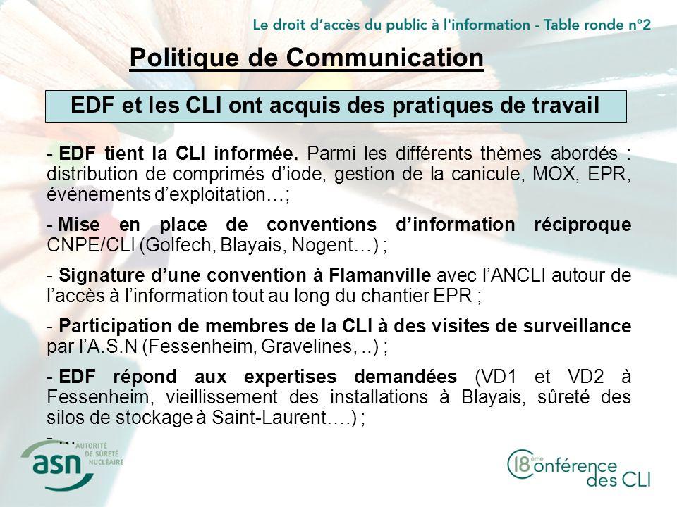 -. - EDF tient la CLI informée. Parmi les différents thèmes abordés : distribution de comprimés diode, gestion de la canicule, MOX, EPR, événements de