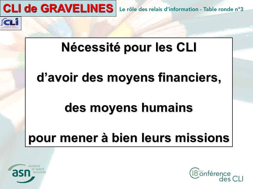 CLI de GRAVELINES Nécessité pour les CLI davoir des moyens financiers, des moyens humains pour mener à bien leurs missions