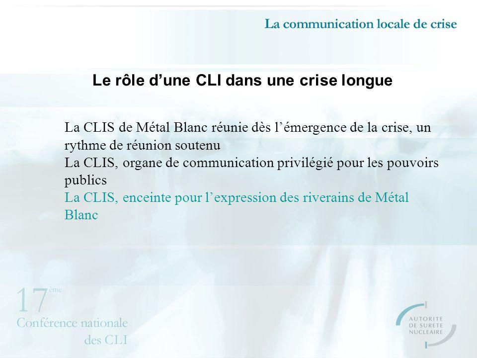 Le rôle dune CLI dans une crise longue La CLIS de Métal Blanc réunie dès lémergence de la crise, un rythme de réunion soutenu La CLIS, organe de communication privilégié pour les pouvoirs publics La CLIS, enceinte pour lexpression des riverains de Métal Blanc