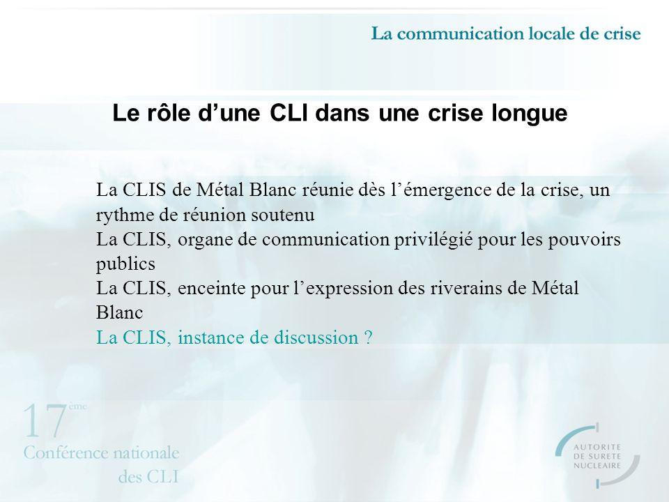 Le rôle dune CLI dans une crise longue La CLIS de Métal Blanc réunie dès lémergence de la crise, un rythme de réunion soutenu La CLIS, organe de communication privilégié pour les pouvoirs publics La CLIS, enceinte pour lexpression des riverains de Métal Blanc La CLIS, instance de discussion