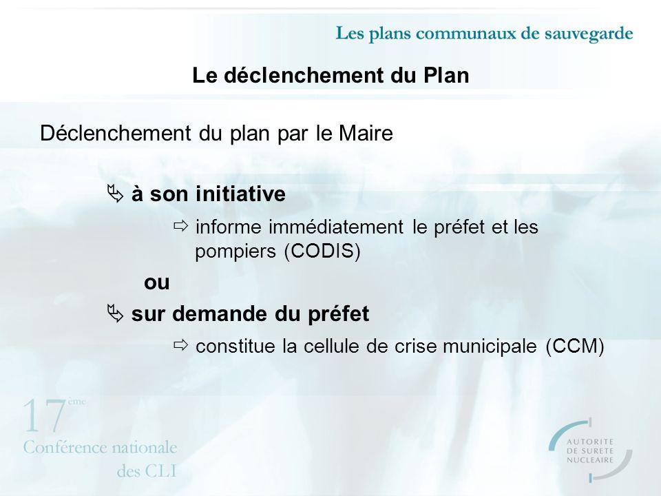 Le déclenchement du Plan Déclenchement du plan par le Maire à son initiative informe immédiatement le préfet et les pompiers (CODIS) ou sur demande du