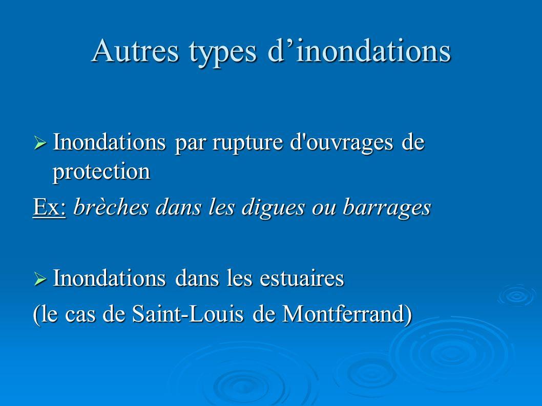 Autres types dinondations Inondations par rupture d'ouvrages de protection Inondations par rupture d'ouvrages de protection Ex: brèches dans les digue