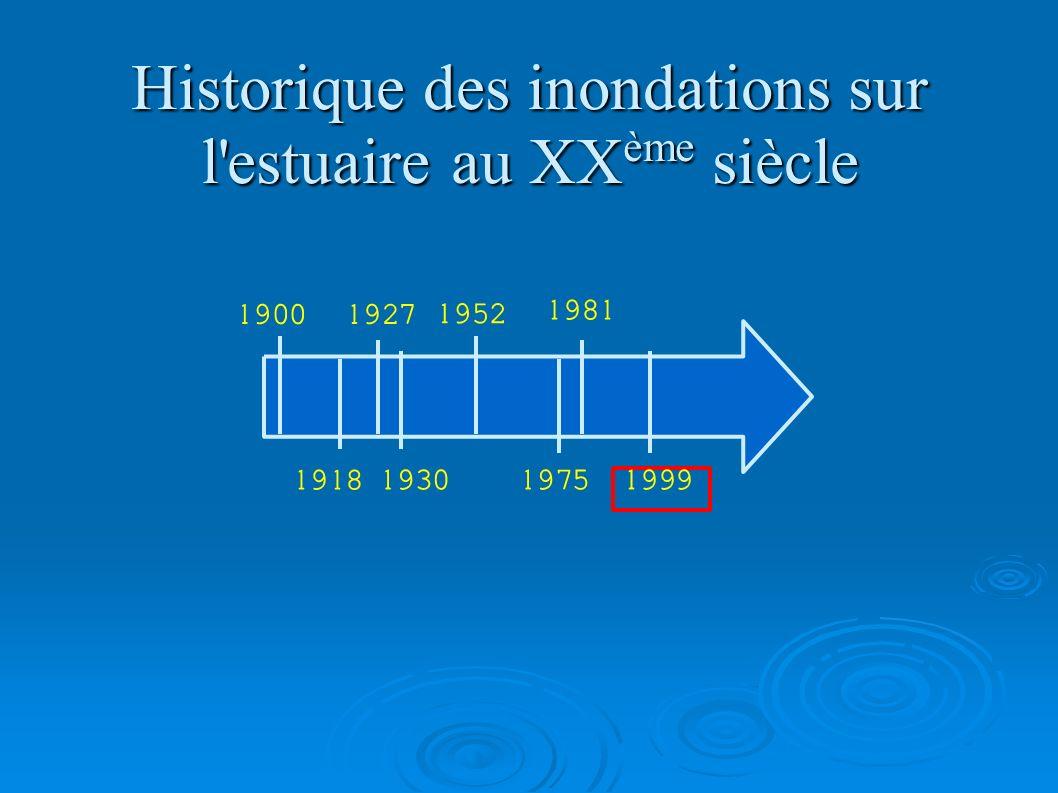 Historique des inondations sur l'estuaire au XX ème siècle 19001927 1918 1952 193019751999 1981