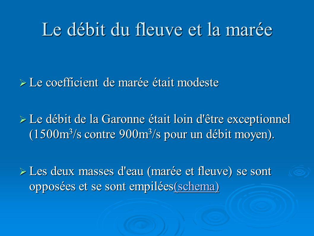 Le débit du fleuve et la marée Le coefficient de marée était modeste Le coefficient de marée était modeste Le débit de la Garonne était loin d'être ex