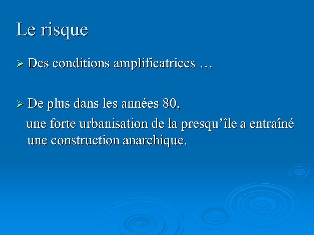 Le risque Des conditions amplificatrices … Des conditions amplificatrices … De plus dans les années 80, De plus dans les années 80, une forte urbanisa