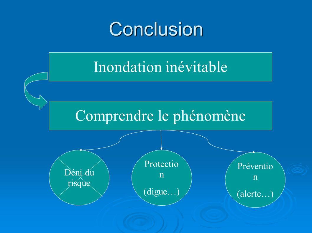 Conclusion Comprendre le phénomène Inondation inévitable Préventio n (alerte…) Protectio n (digue…) Déni du risque