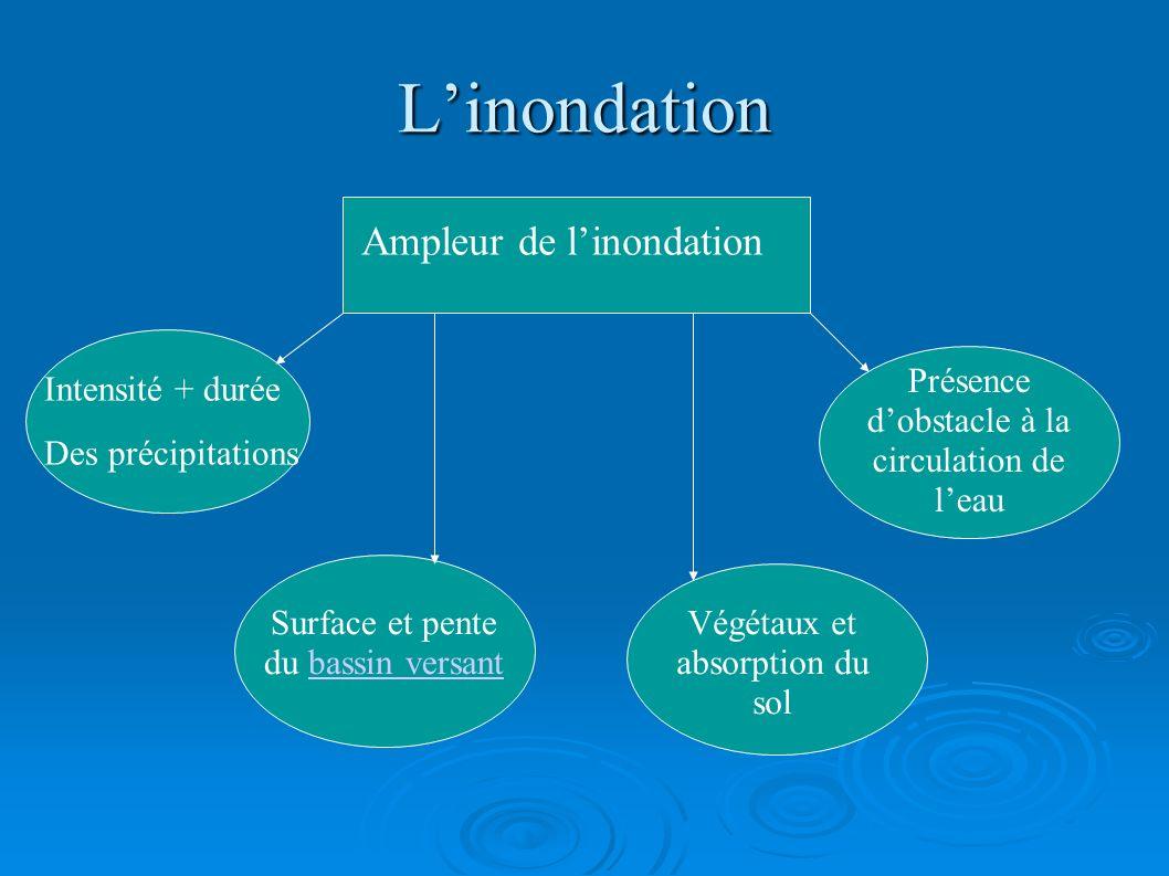 Linondation Ampleur de linondation Intensité + durée Des précipitations Surface et pente du bassin versantbassin versant Végétaux et absorption du sol