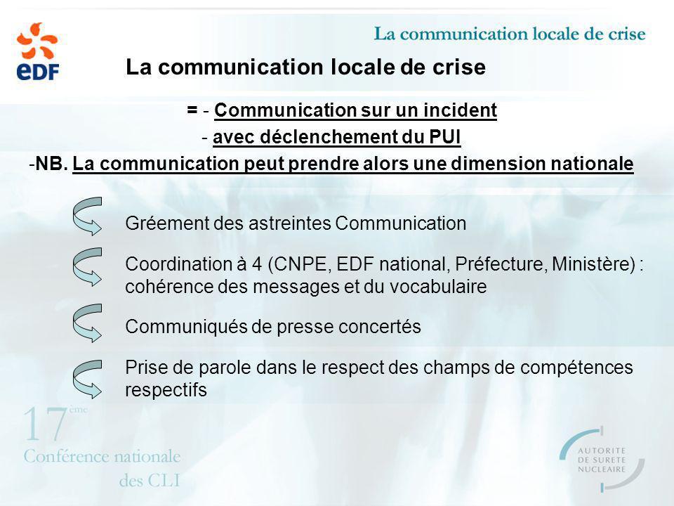 La communication locale de crise = - Communication sur un incident - avec déclenchement du PUI -NB. La communication peut prendre alors une dimension