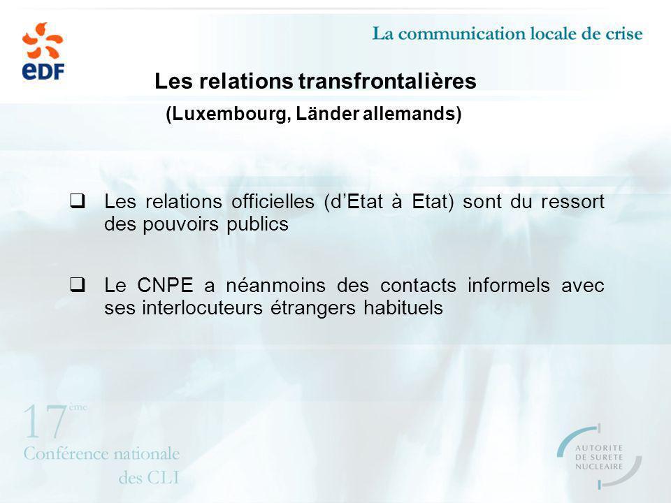 Les relations transfrontalières (Luxembourg, Länder allemands) Les relations officielles (dEtat à Etat) sont du ressort des pouvoirs publics Le CNPE a néanmoins des contacts informels avec ses interlocuteurs étrangers habituels