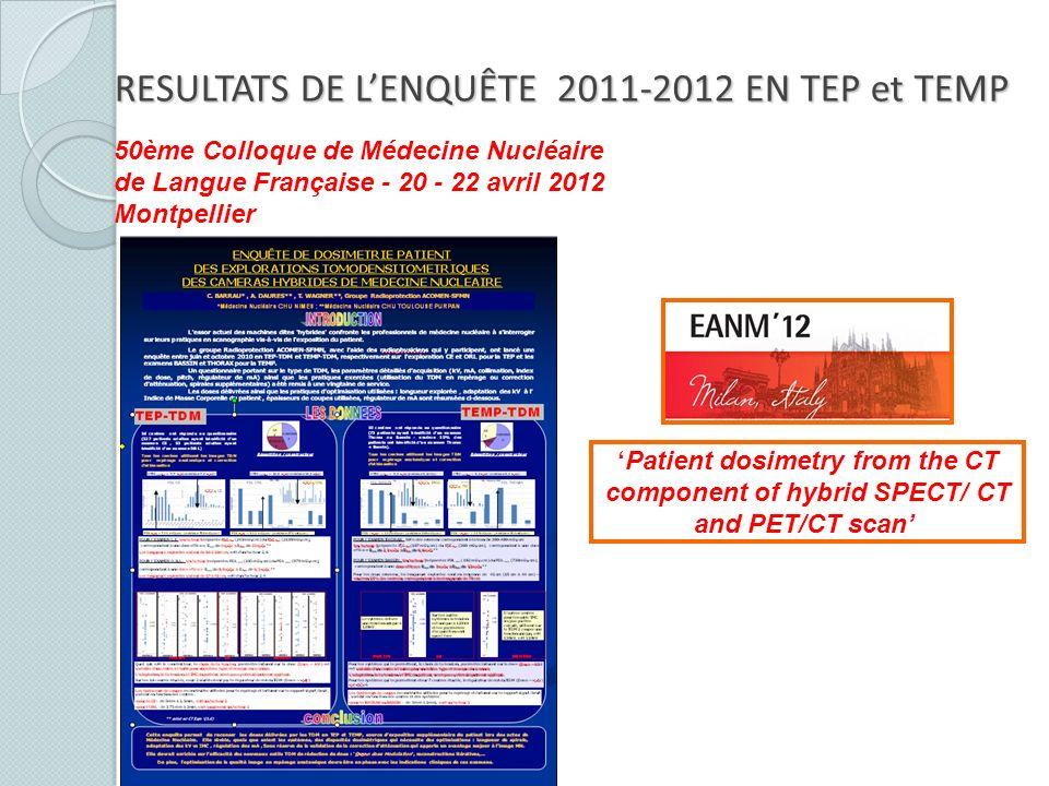 50ème Colloque de Médecine Nucléaire de Langue Française - 20 - 22 avril 2012 Montpellier Patient dosimetry from the CT component of hybrid SPECT/ CT