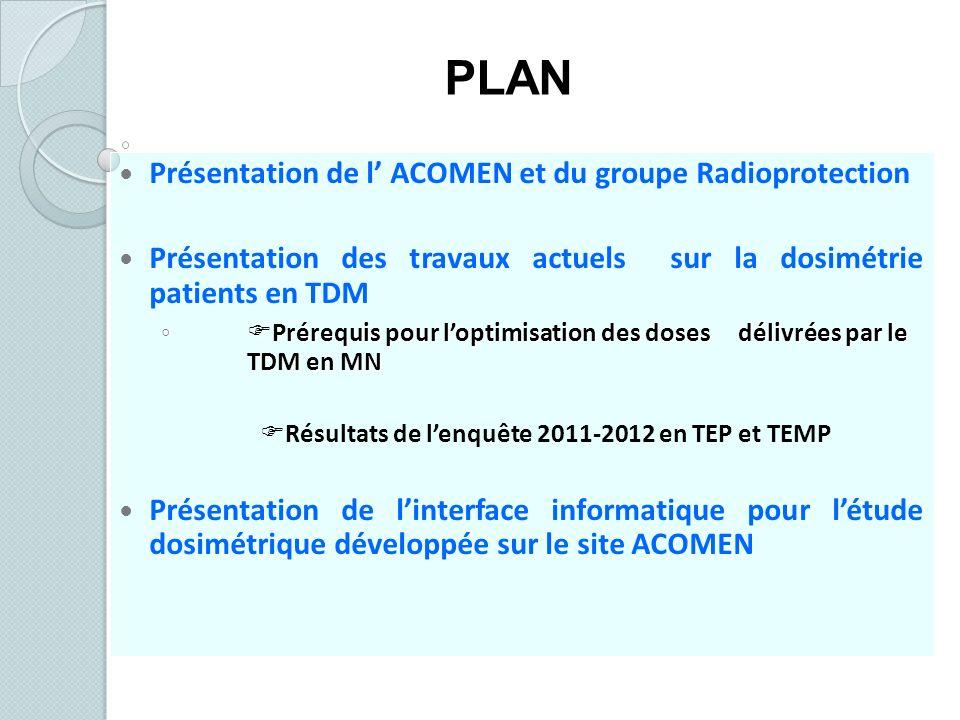 Présentation de l ACOMEN et du groupe Radioprotection Présentation des travaux actuels sur la dosimétrie patients en TDM Prérequis pour loptimisation