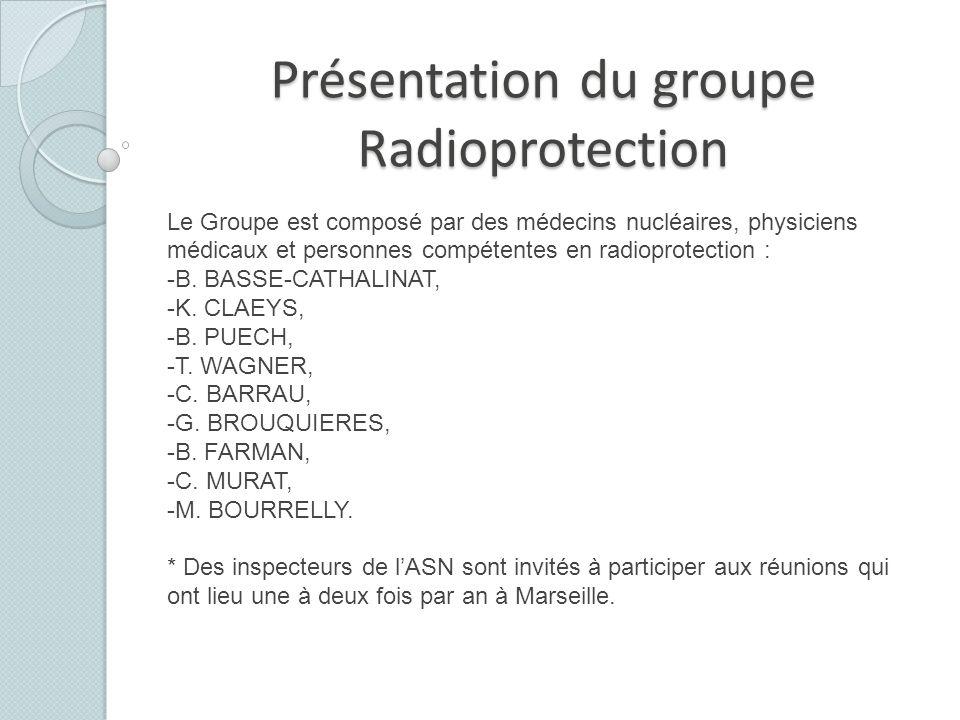 Présentation du groupe Radioprotection Le Groupe est composé par des médecins nucléaires, physiciens médicaux et personnes compétentes en radioprotect