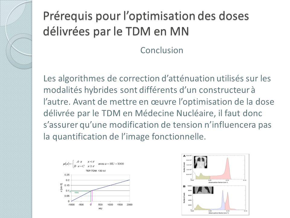 Prérequis pour loptimisation des doses délivrées par le TDM en MN Conclusion Les algorithmes de correction datténuation utilisés sur les modalités hyb