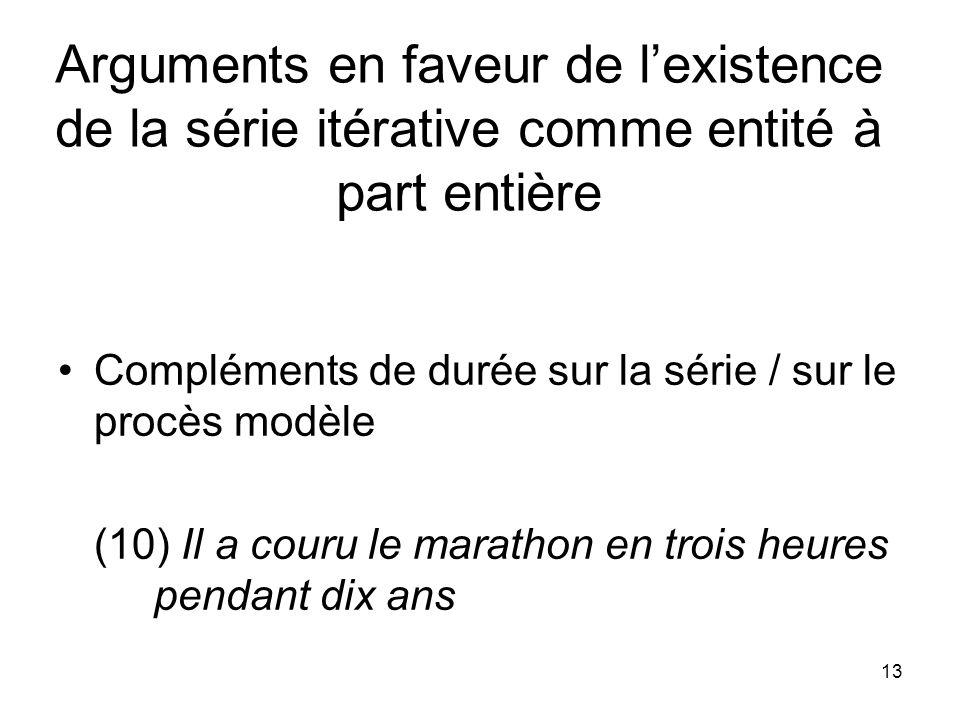 13 Arguments en faveur de lexistence de la série itérative comme entité à part entière Compléments de durée sur la série / sur le procès modèle (10) I