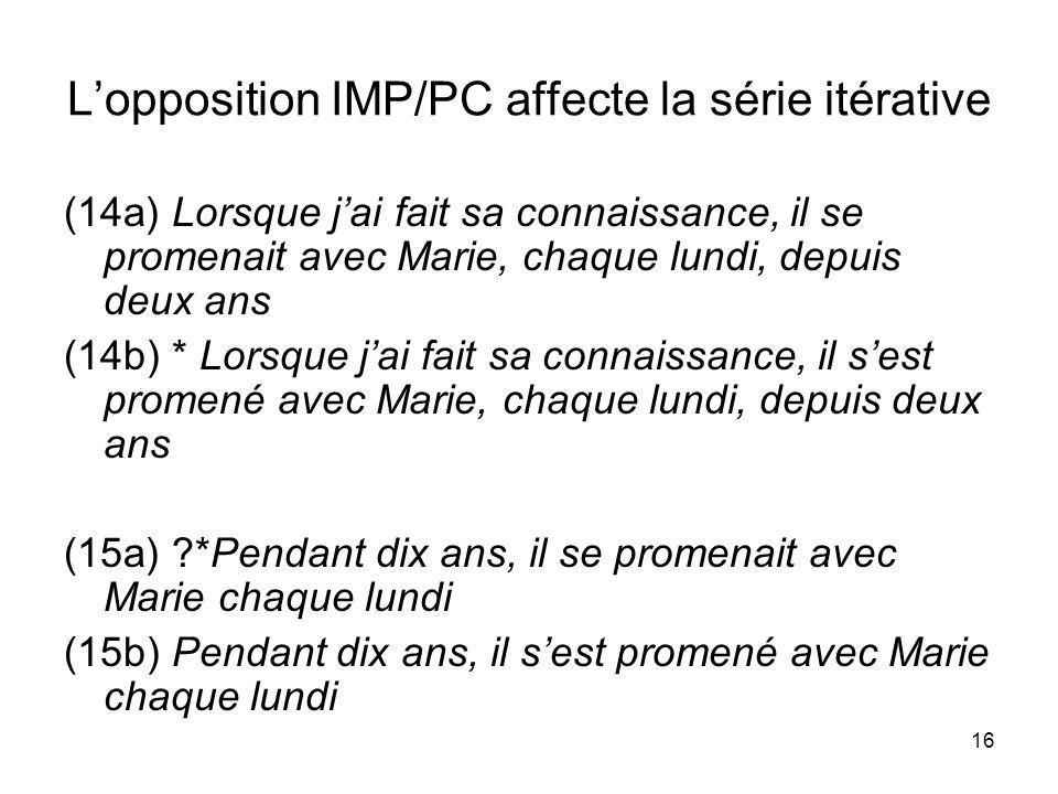 16 Lopposition IMP/PC affecte la série itérative (14a) Lorsque jai fait sa connaissance, il se promenait avec Marie, chaque lundi, depuis deux ans (14