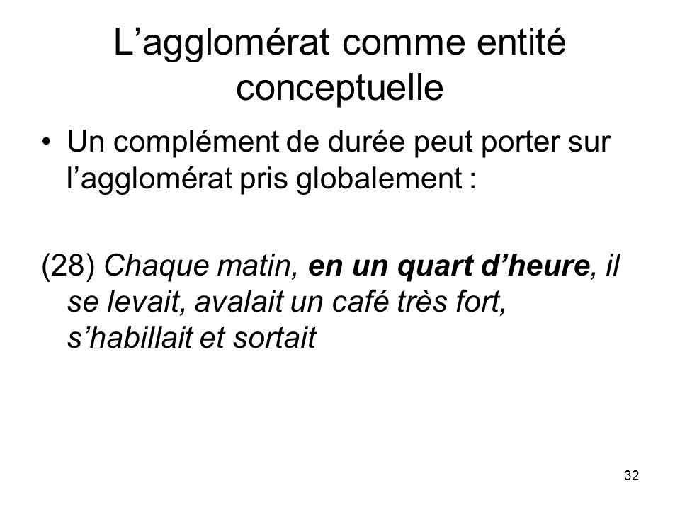 32 Lagglomérat comme entité conceptuelle Un complément de durée peut porter sur lagglomérat pris globalement : (28) Chaque matin, en un quart dheure,