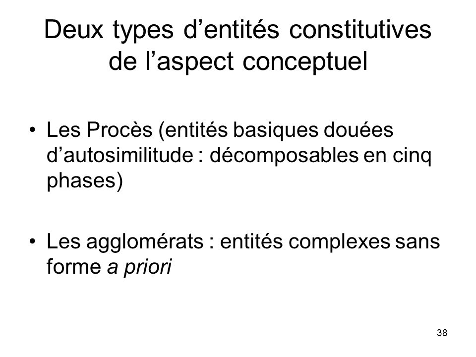 38 Deux types dentités constitutives de laspect conceptuel Les Procès (entités basiques douées dautosimilitude : décomposables en cinq phases) Les agg