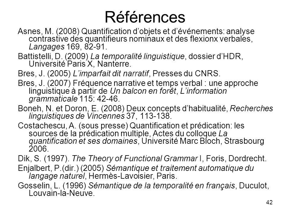 42 Références Asnes, M. (2008) Quantification dobjets et dévénements: analyse contrastive des quantifieurs nominaux et des flexionx verbales, Langages