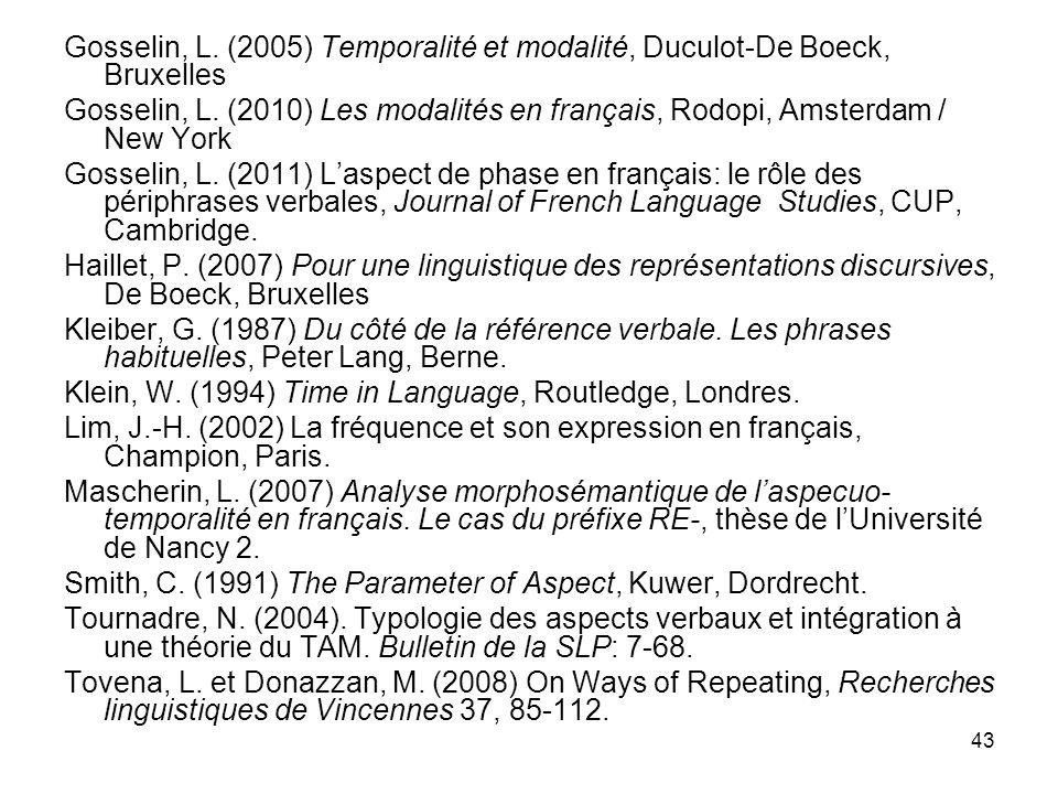 43 Gosselin, L. (2005) Temporalité et modalité, Duculot-De Boeck, Bruxelles Gosselin, L. (2010) Les modalités en français, Rodopi, Amsterdam / New Yor