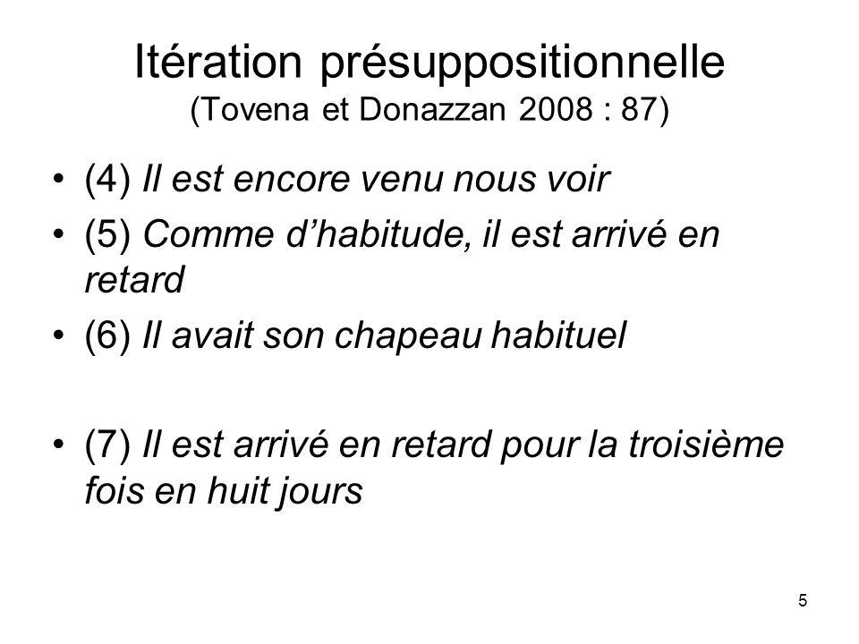 5 Itération présuppositionnelle (Tovena et Donazzan 2008 : 87) (4) Il est encore venu nous voir (5) Comme dhabitude, il est arrivé en retard (6) Il av