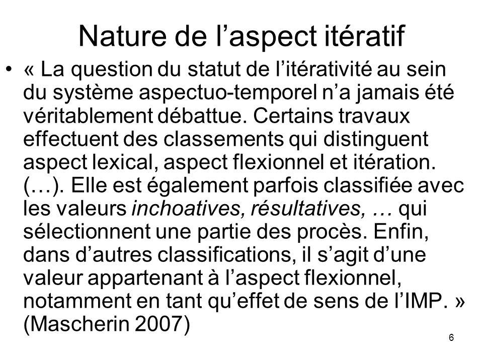 6 Nature de laspect itératif « La question du statut de litérativité au sein du système aspectuo-temporel na jamais été véritablement débattue. Certai