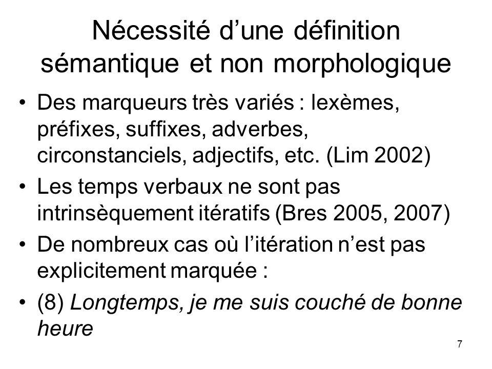 7 Nécessité dune définition sémantique et non morphologique Des marqueurs très variés : lexèmes, préfixes, suffixes, adverbes, circonstanciels, adject