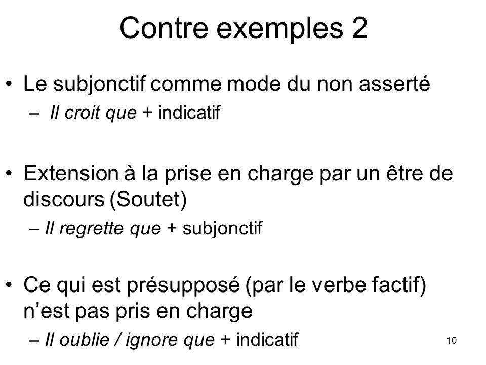 10 Contre exemples 2 Le subjonctif comme mode du non asserté – Il croit que + indicatif Extension à la prise en charge par un être de discours (Soutet