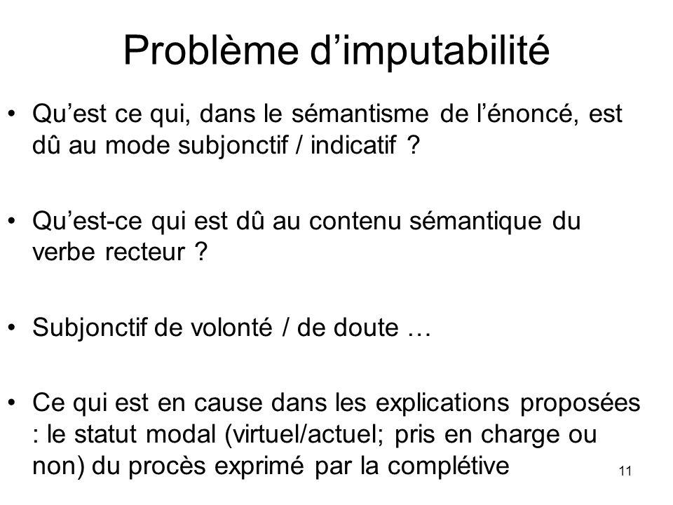 11 Problème dimputabilité Quest ce qui, dans le sémantisme de lénoncé, est dû au mode subjonctif / indicatif ? Quest-ce qui est dû au contenu sémantiq
