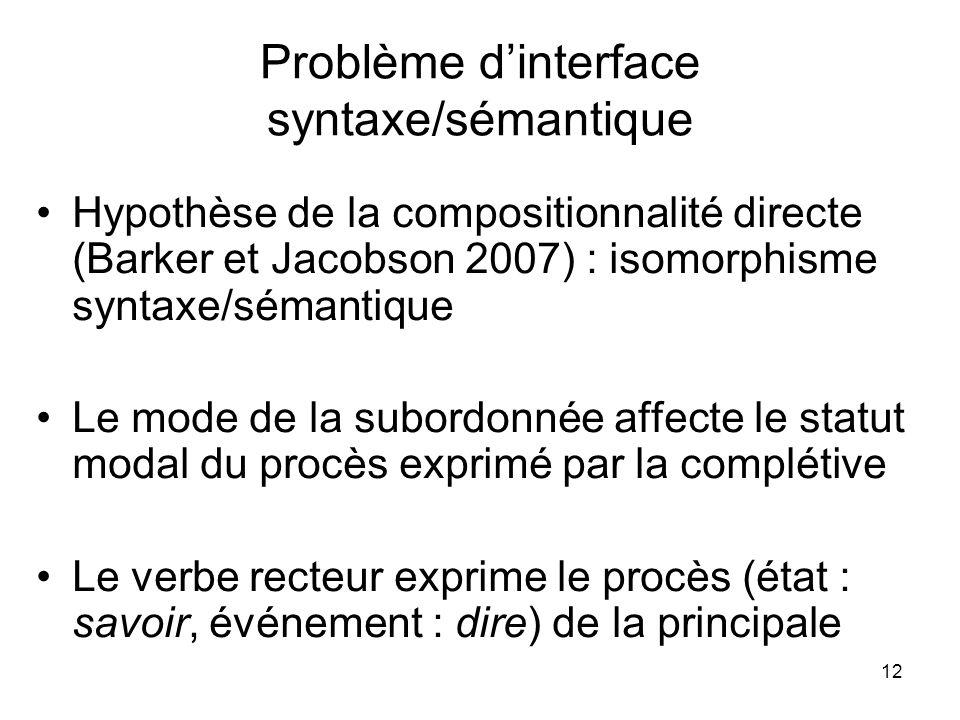 12 Problème dinterface syntaxe/sémantique Hypothèse de la compositionnalité directe (Barker et Jacobson 2007) : isomorphisme syntaxe/sémantique Le mod