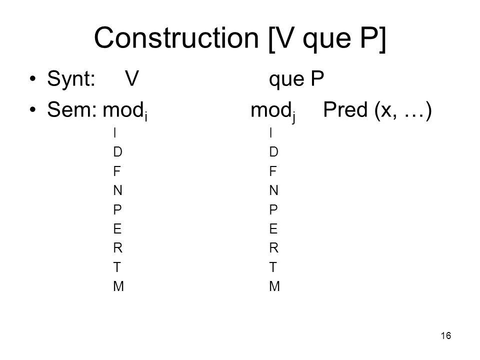 16 Construction [V que P] Synt: Vque P Sem: mod i mod j Pred (x, …)IDFNPERTM
