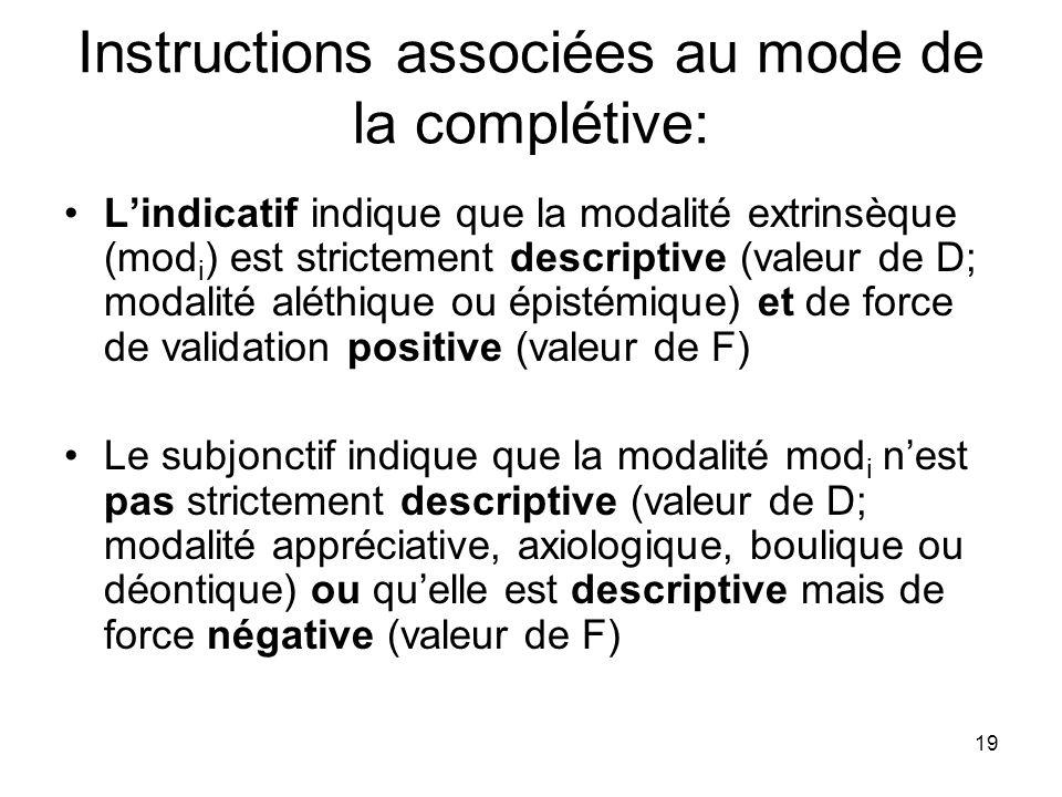 19 Instructions associées au mode de la complétive: Lindicatif indique que la modalité extrinsèque (mod i ) est strictement descriptive (valeur de D;