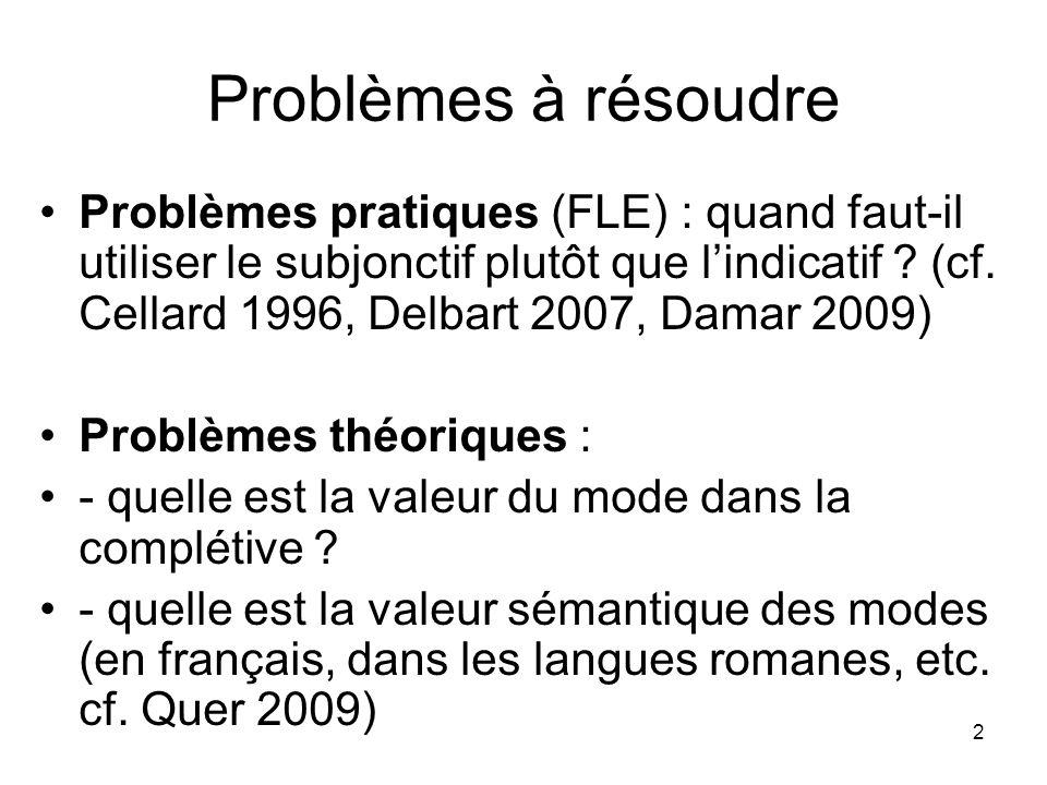 2 Problèmes à résoudre Problèmes pratiques (FLE) : quand faut-il utiliser le subjonctif plutôt que lindicatif ? (cf. Cellard 1996, Delbart 2007, Damar