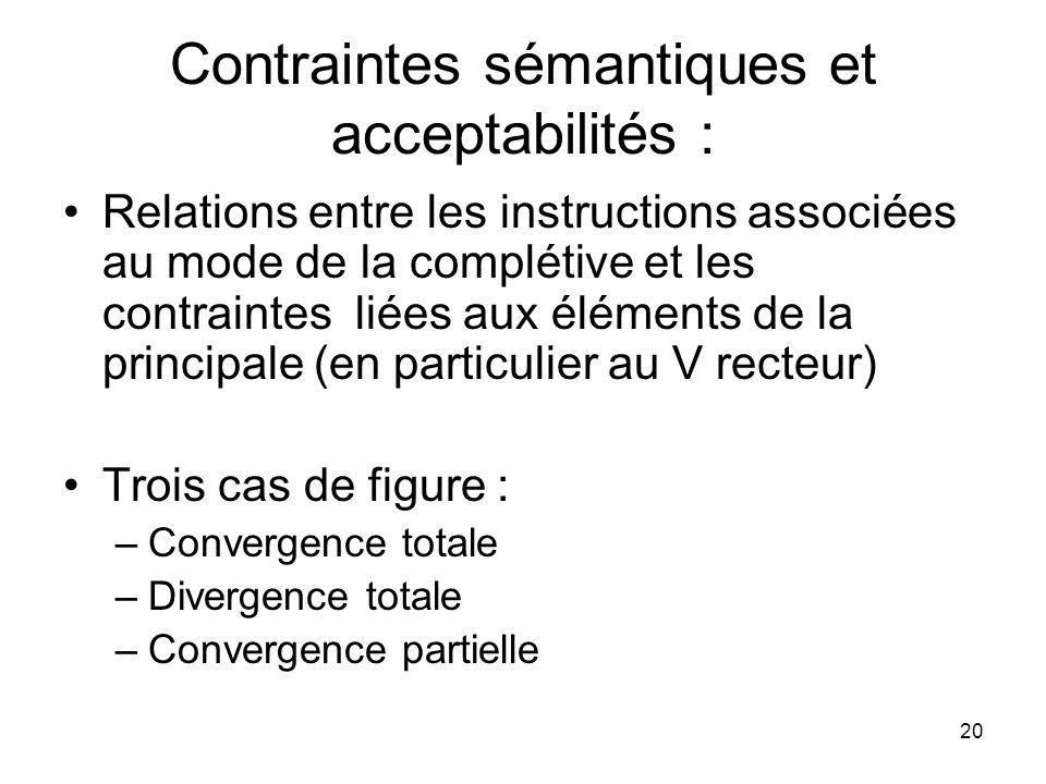 20 Contraintes sémantiques et acceptabilités : Relations entre les instructions associées au mode de la complétive et les contraintes liées aux élémen