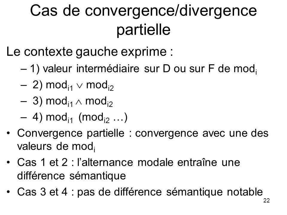 22 Cas de convergence/divergence partielle Le contexte gauche exprime : –1) valeur intermédiaire sur D ou sur F de mod i – 2) mod i1 mod i2 – 3) mod i