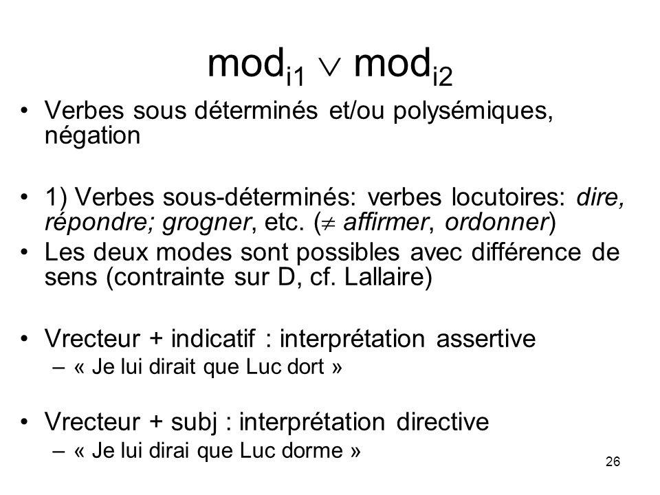 26 mod i1 mod i2 Verbes sous déterminés et/ou polysémiques, négation 1) Verbes sous-déterminés: verbes locutoires: dire, répondre; grogner, etc. ( aff