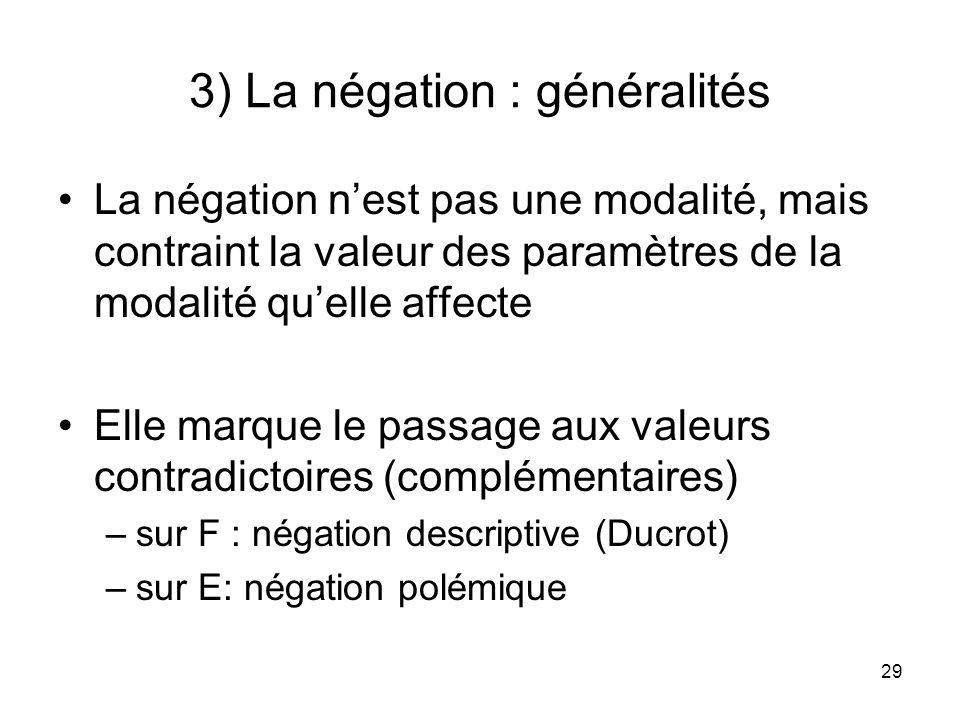 29 3) La négation : généralités La négation nest pas une modalité, mais contraint la valeur des paramètres de la modalité quelle affecte Elle marque l