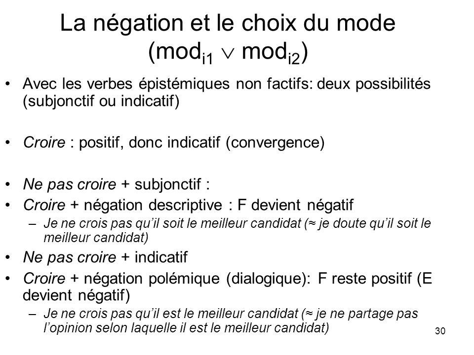 30 La négation et le choix du mode (mod i1 mod i2 ) Avec les verbes épistémiques non factifs: deux possibilités (subjonctif ou indicatif) Croire : pos