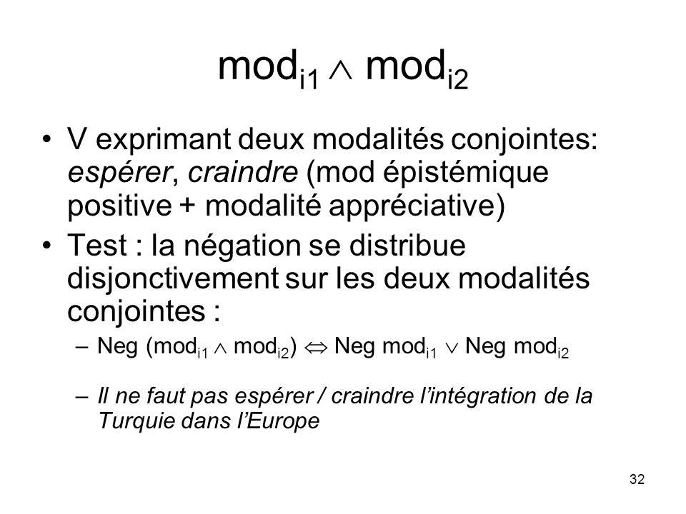 32 mod i1 mod i2 V exprimant deux modalités conjointes: espérer, craindre (mod épistémique positive + modalité appréciative) Test : la négation se dis